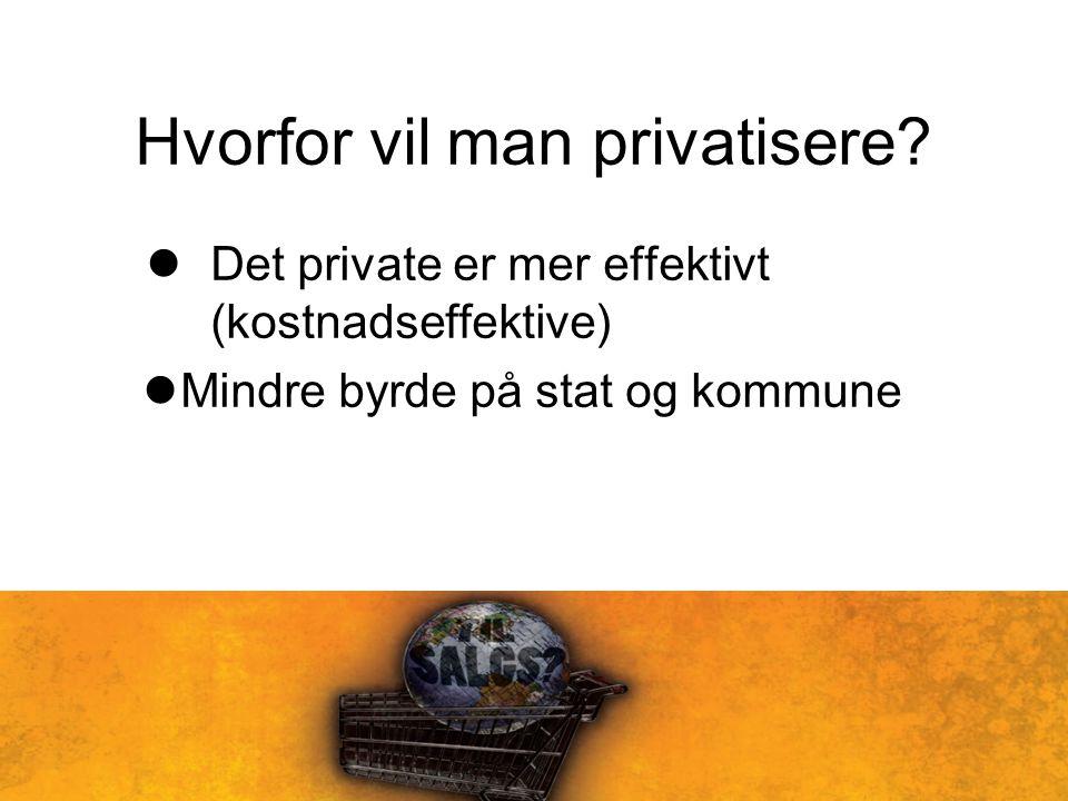 Hvorfor vil man privatisere? Det private er mer effektivt (kostnadseffektive) Mindre byrde på stat og kommune