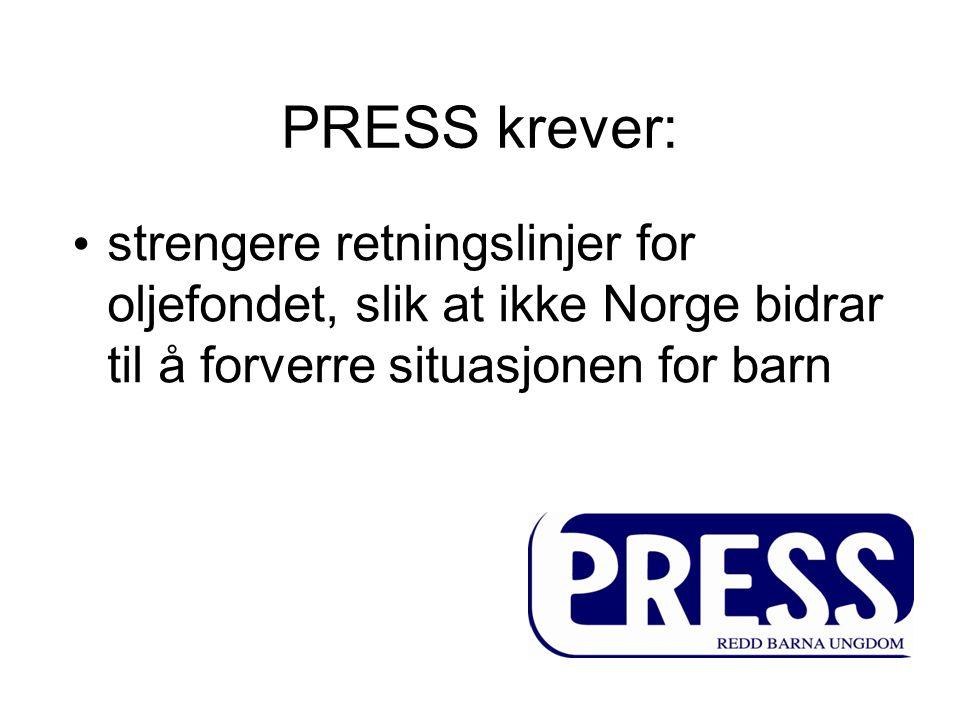 PRESS krever: strengere retningslinjer for oljefondet, slik at ikke Norge bidrar til å forverre situasjonen for barn