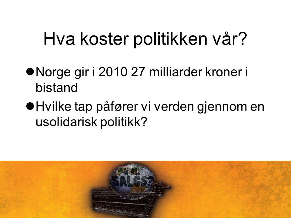 Hva koster politikken vår? Norge gir i 2010 27 milliarder kroner i bistand Hvilke tap påfører vi verden gjennom en usolidarisk politikk?