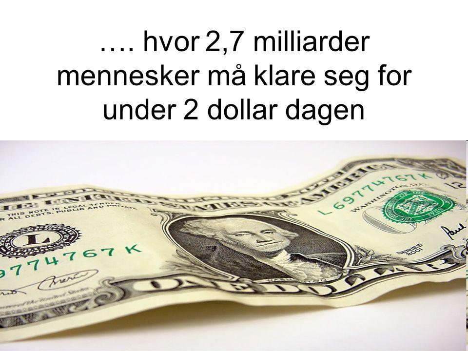 …. hvor 2,7 milliarder mennesker må klare seg for under 2 dollar dagen