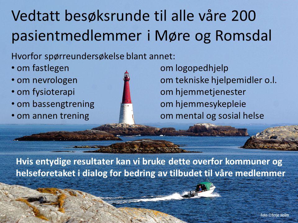 Vedtatt besøksrunde til alle våre 200 pasientmedlemmer i Møre og Romsdal Hvorfor spørreundersøkelse blant annet: om fastlegenom logopedhjelp om nevrologenom tekniske hjelpemidler o.l.