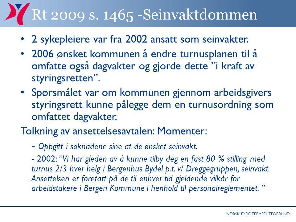 NORSK FYSIOTERAPEUTFORBUND Rt 2009 s.