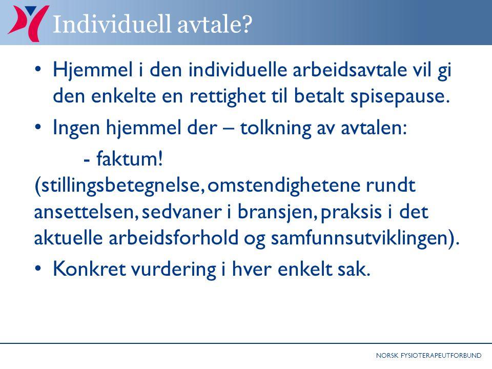 NORSK FYSIOTERAPEUTFORBUND Individuell avtale.