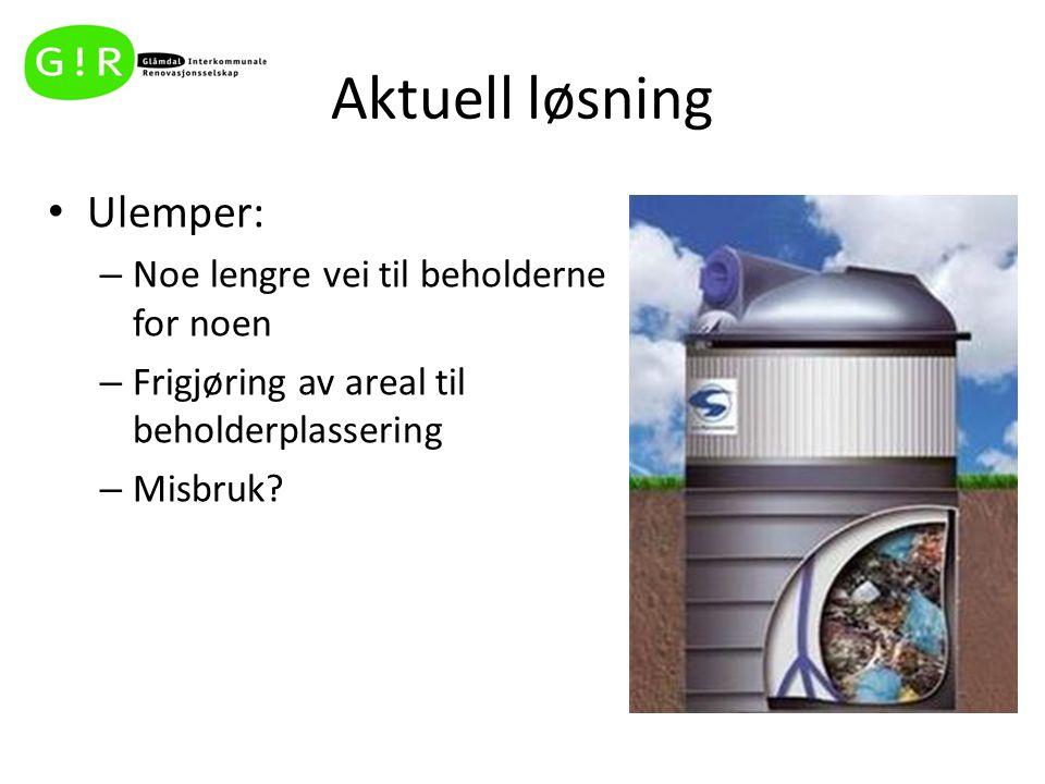 Aktuell løsning Ulemper: – Noe lengre vei til beholderne for noen – Frigjøring av areal til beholderplassering – Misbruk?