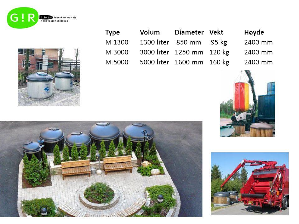 TypeVolumDiameterVektHøyde M 13001300 liter 850 mm 95 kg2400 mm M 30003000 liter1250 mm120 kg2400 mm M 50005000 liter1600 mm160 kg2400 mm
