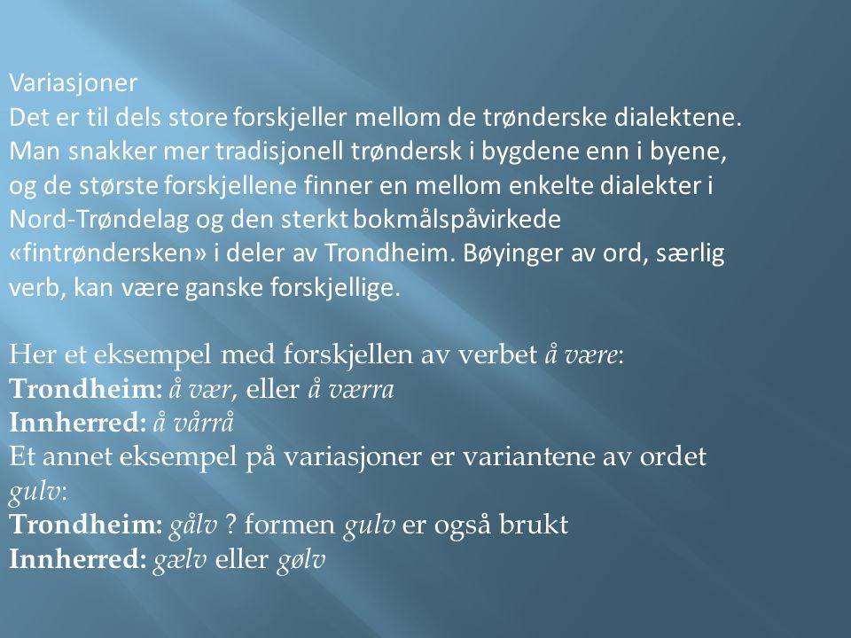 Variasjoner Det er til dels store forskjeller mellom de trønderske dialektene. Man snakker mer tradisjonell trøndersk i bygdene enn i byene, og de stø