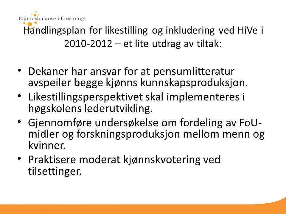 Handlingsplan for likestilling og inkludering ved HiVe i 2010-2012 – et lite utdrag av tiltak: Dekaner har ansvar for at pensumlitteratur avspeiler begge kjønns kunnskapsproduksjon.