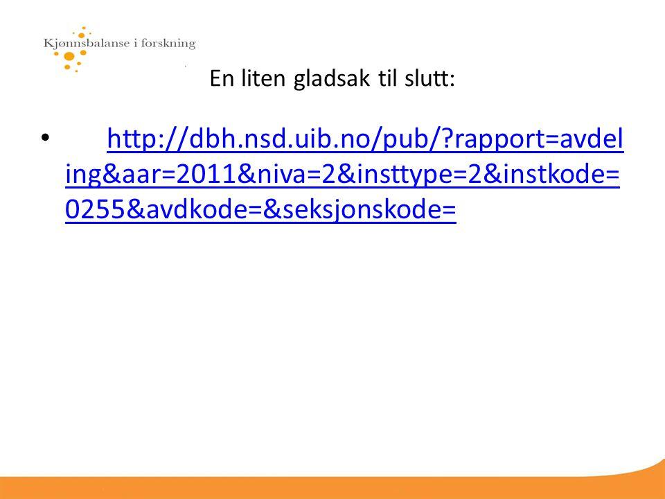 En liten gladsak til slutt: http://dbh.nsd.uib.no/pub/ rapport=avdel ing&aar=2011&niva=2&insttype=2&instkode= 0255&avdkode=&seksjonskode= http://dbh.nsd.uib.no/pub/ rapport=avdel ing&aar=2011&niva=2&insttype=2&instkode= 0255&avdkode=&seksjonskode=
