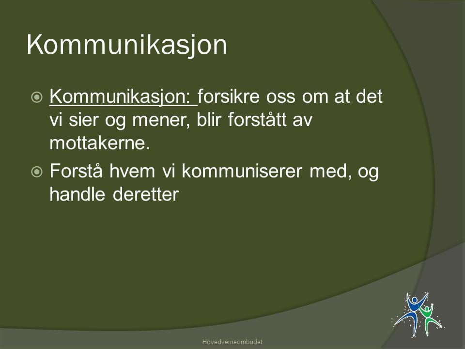 Kommunikasjon  Kommunikasjon: forsikre oss om at det vi sier og mener, blir forstått av mottakerne.