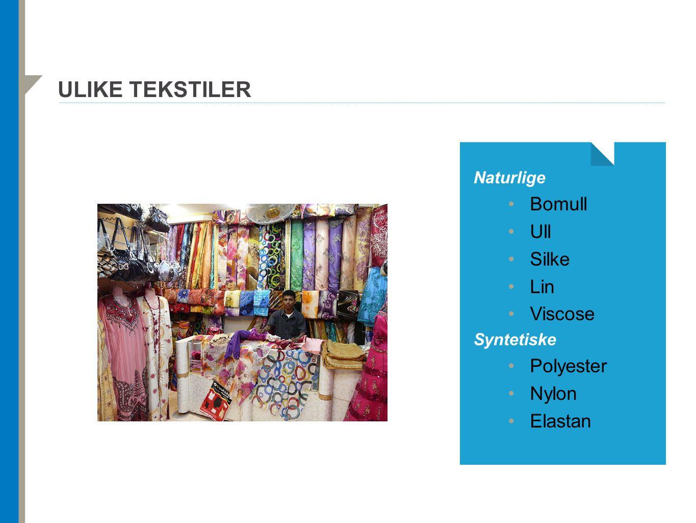 ULIKE TEKSTILER Naturlige Bomull Ull Silke Lin Viscose Syntetiske Polyester Nylon Elastan