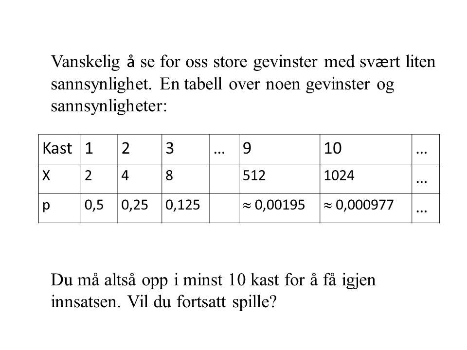 Kast123…910… X248 5121024 … p0,50,250,125  0,00195  0,000977 … Vanskelig å se for oss store gevinster med sv æ rt liten sannsynlighet. En tabell ove