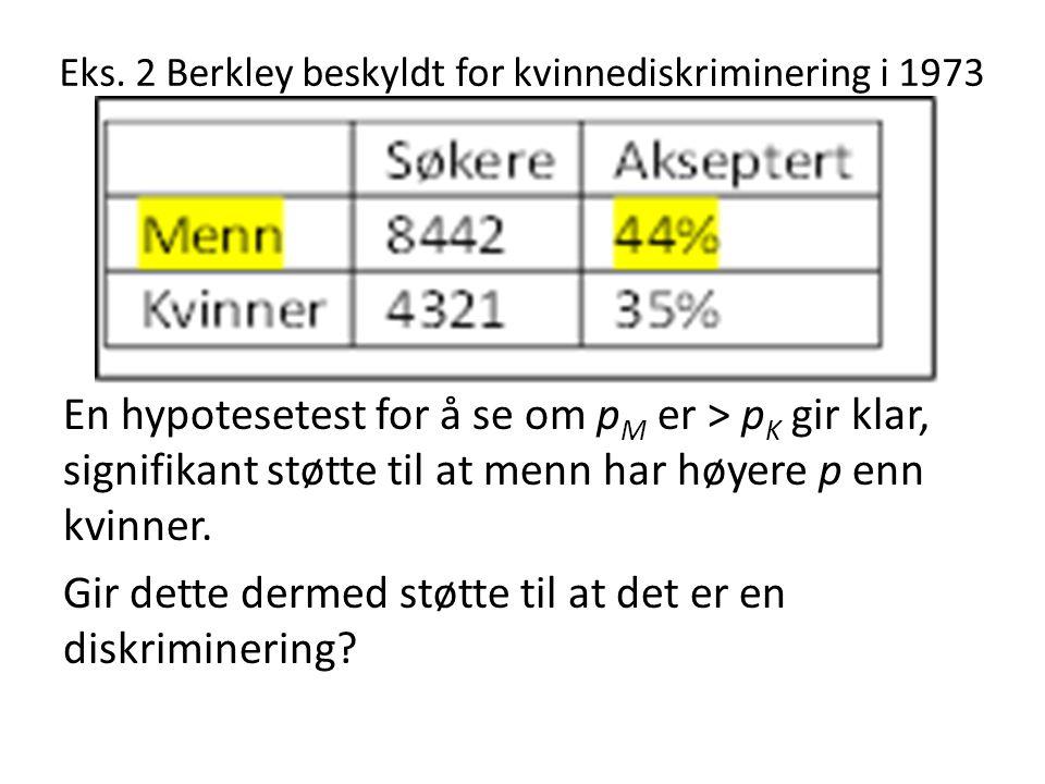Eks. 2 Berkley beskyldt for kvinnediskriminering i 1973 En hypotesetest for å se om p M er > p K gir klar, signifikant støtte til at menn har høyere p