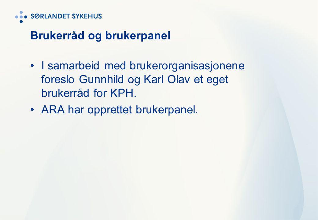 Brukerråd og brukerpanel I samarbeid med brukerorganisasjonene foreslo Gunnhild og Karl Olav et eget brukerråd for KPH. ARA har opprettet brukerpanel.