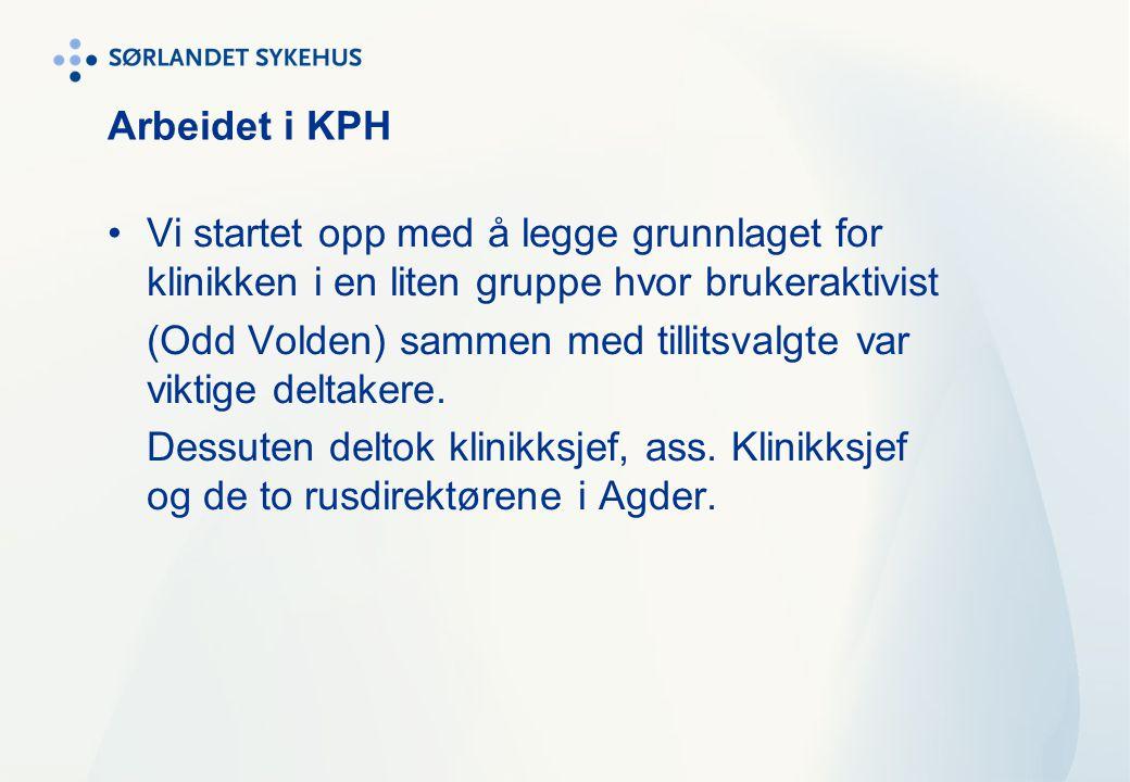 Arbeidet i KPH Vi startet opp med å legge grunnlaget for klinikken i en liten gruppe hvor brukeraktivist (Odd Volden) sammen med tillitsvalgte var vik
