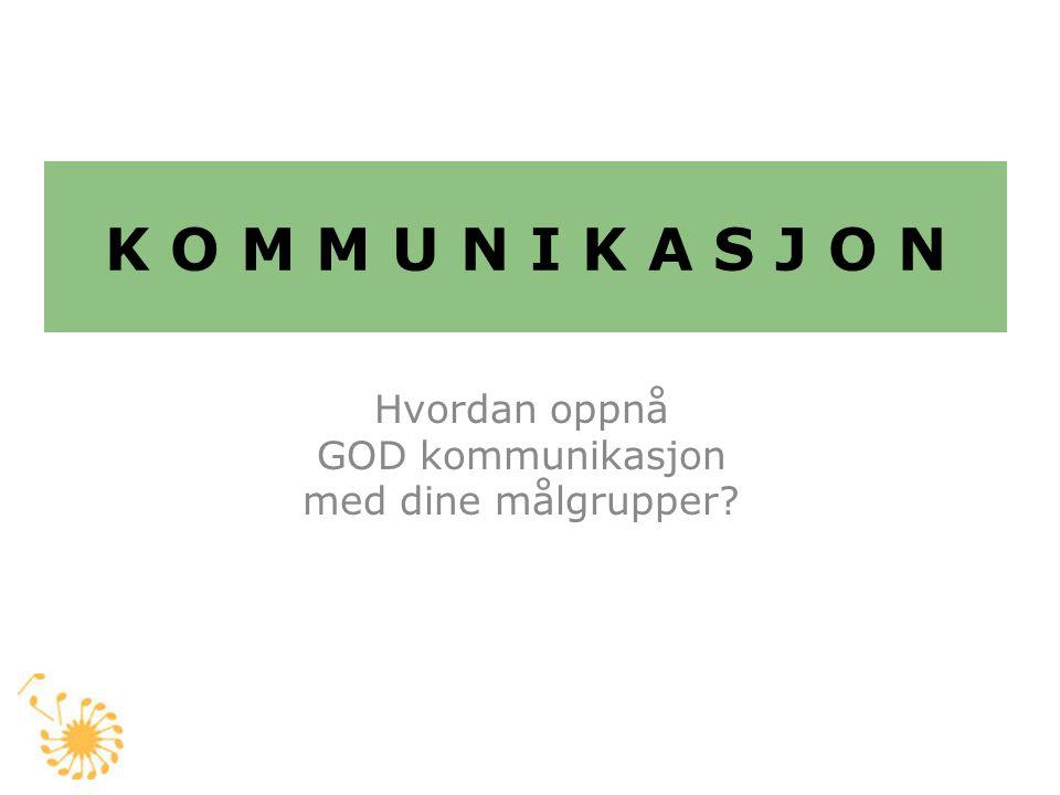 K O M M U N I K A S J O N Hvordan oppnå GOD kommunikasjon med dine målgrupper?