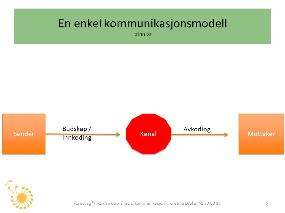 En enkel kommunikasjonsmodell trinn tre Foredrag Hvordan oppnå GOD kommunikasjon .