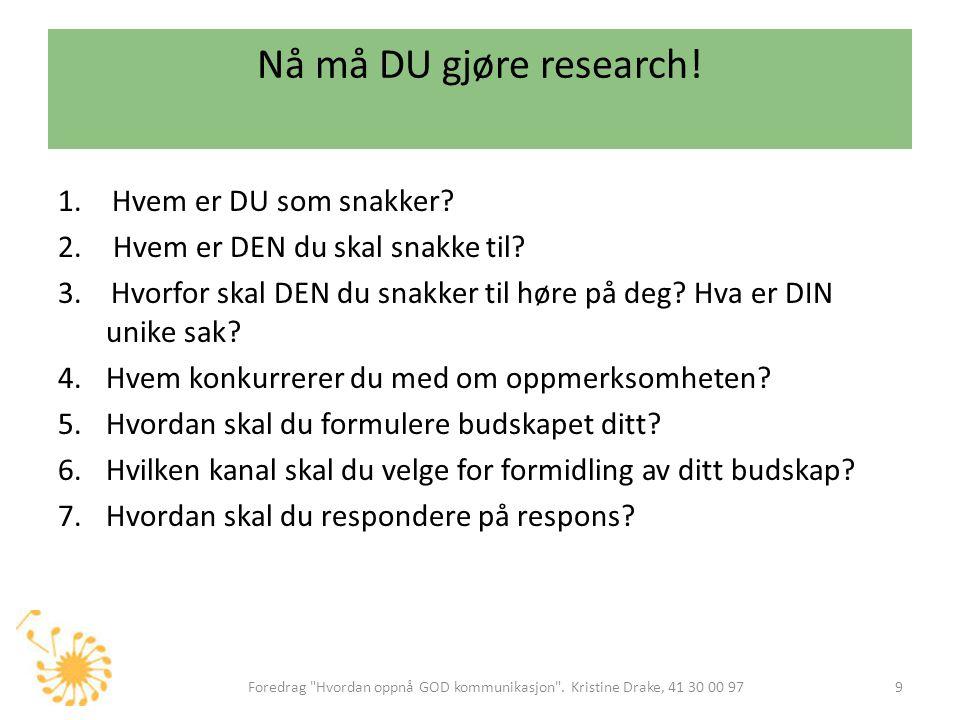 Nå må DU gjøre research! 1.Hvem er DU som snakker? 2. Hvem er DEN du skal snakke til? 3. Hvorfor skal DEN du snakker til høre på deg? Hva er DIN unike