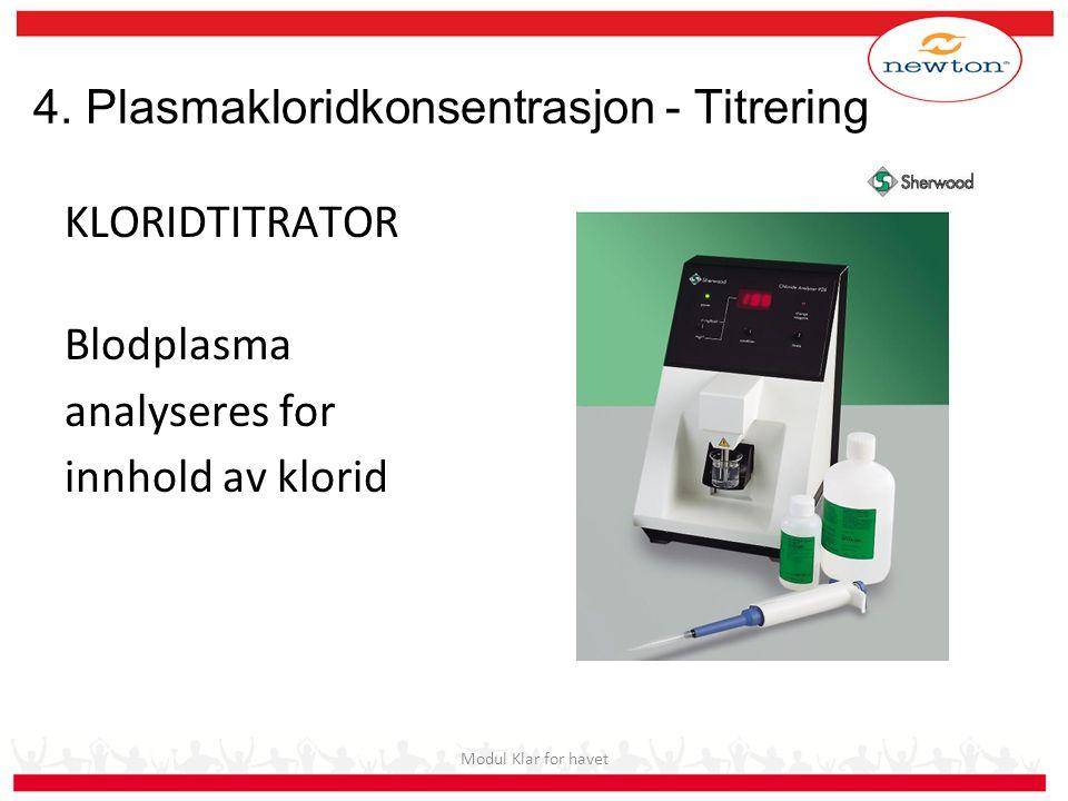 4. Plasmakloridkonsentrasjon - Titrering KLORIDTITRATOR Blodplasma analyseres for innhold av klorid Modul Klar for havet