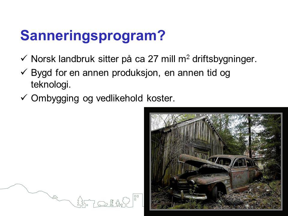 Sanneringsprogram? Norsk landbruk sitter på ca 27 mill m 2 driftsbygninger. Bygd for en annen produksjon, en annen tid og teknologi. Ombygging og vedl