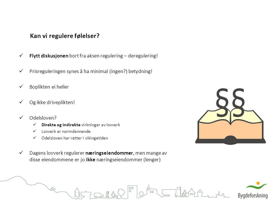 Kan vi regulere følelser? Flytt diskusjonen bort fra aksen regulering – deregulering! Prisreguleringen synes å ha minimal (ingen?) betydning! Boplikte