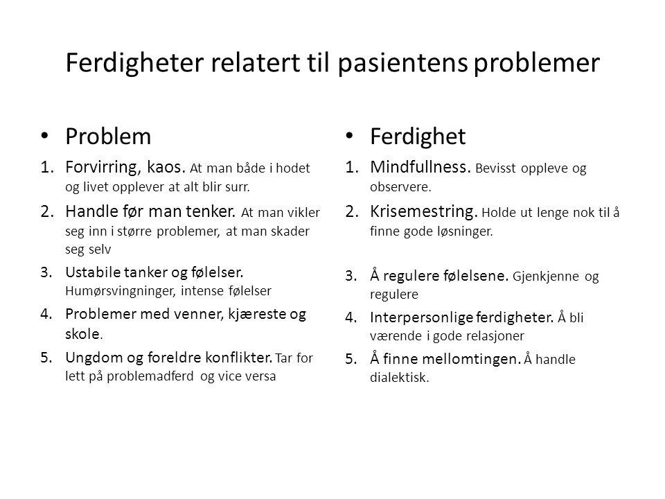 Ferdigheter relatert til pasientens problemer Problem 1.Forvirring, kaos. At man både i hodet og livet opplever at alt blir surr. 2.Handle før man ten