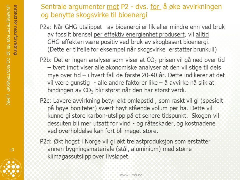 UNIVERSITETET FOR MILJØ- OG BIOVITENSKAP (UMB) www.umb.no Sentrale argumenter mot P2 - dvs. for å øke avvirkningen og benytte skogsvirke til bioenergi