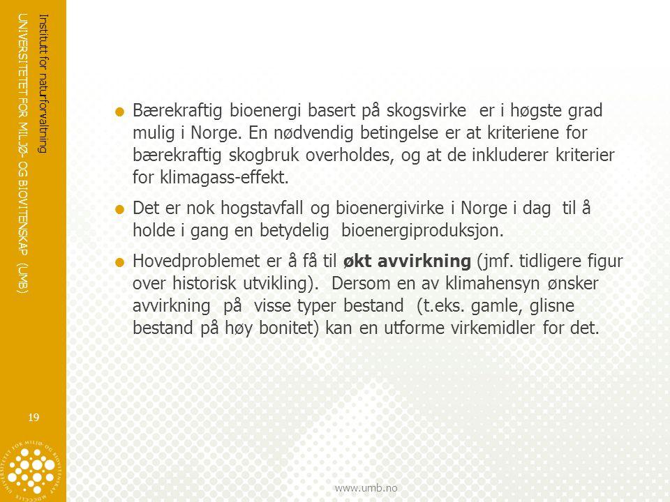 UNIVERSITETET FOR MILJØ- OG BIOVITENSKAP (UMB) www.umb.no  Bærekraftig bioenergi basert på skogsvirke er i høgste grad mulig i Norge. En nødvendig be