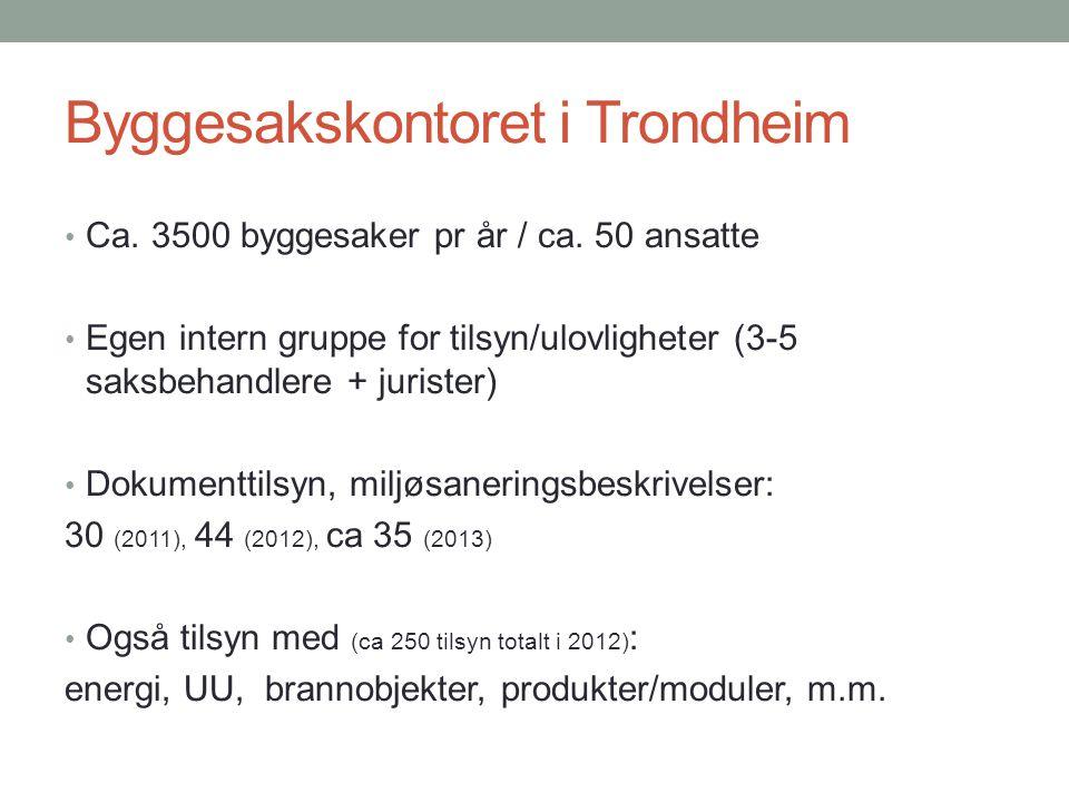 Byggesakskontoret i Trondheim Ca. 3500 byggesaker pr år / ca. 50 ansatte Egen intern gruppe for tilsyn/ulovligheter (3-5 saksbehandlere + jurister) Do