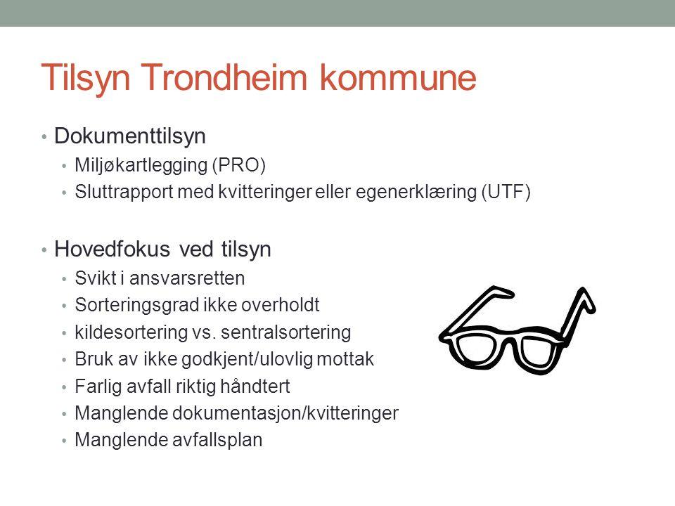 Tilsyn Trondheim kommune Dokumenttilsyn Miljøkartlegging (PRO) Sluttrapport med kvitteringer eller egenerklæring (UTF) Hovedfokus ved tilsyn Svikt i a