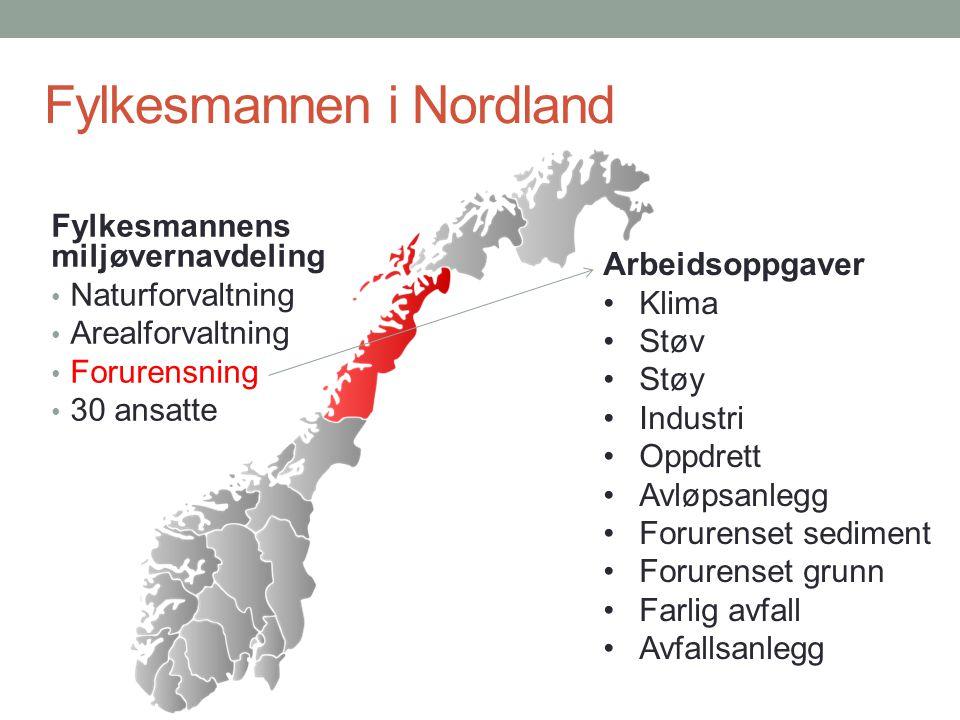 Fylkesmannen i Nordland Fylkesmannens miljøvernavdeling Naturforvaltning Arealforvaltning Forurensning 30 ansatte Arbeidsoppgaver Klima Støv Støy Indu