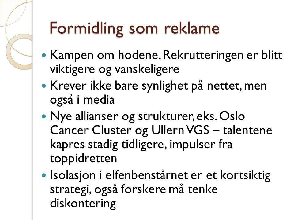 Formidling som reklame Kampen om hodene.