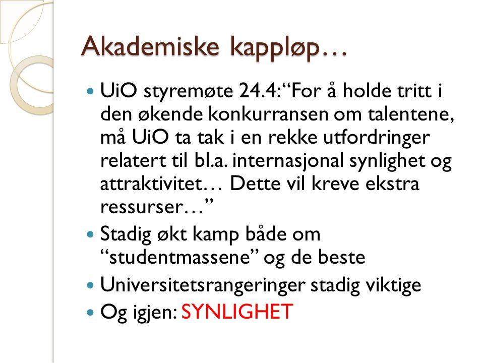 Akademiske kappløp… UiO styremøte 24.4: For å holde tritt i den økende konkurransen om talentene, må UiO ta tak i en rekke utfordringer relatert til bl.a.
