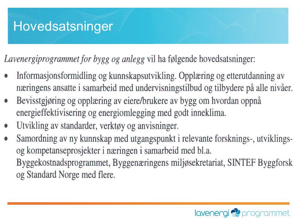 Lavenergiprogrammets egne prosjekter Samarbeidsprosjekter mellom aktørene i programmet.