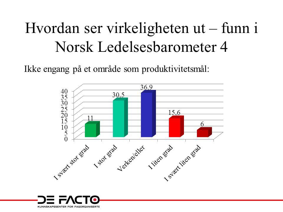 Hvordan ser virkeligheten ut – funn i Norsk Ledelsesbarometer 4 Ikke engang på et område som produktivitetsmål: