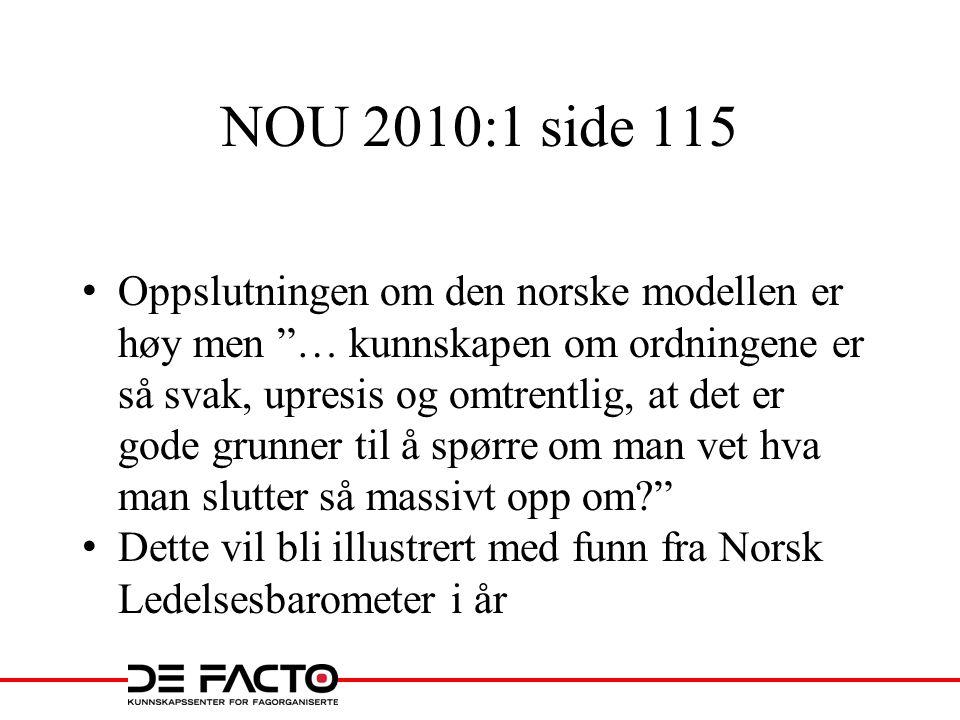 """NOU 2010:1 side 115 Oppslutningen om den norske modellen er høy men """"… kunnskapen om ordningene er så svak, upresis og omtrentlig, at det er gode grun"""