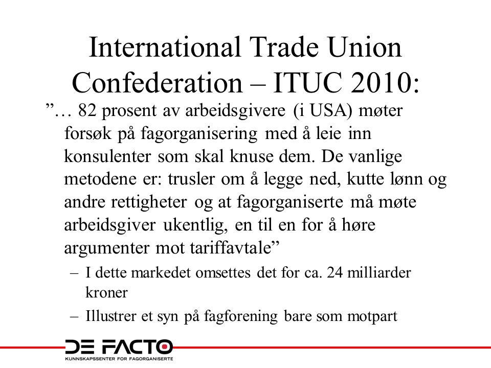 """International Trade Union Confederation – ITUC 2010: """"… 82 prosent av arbeidsgivere (i USA) møter forsøk på fagorganisering med å leie inn konsulenter"""