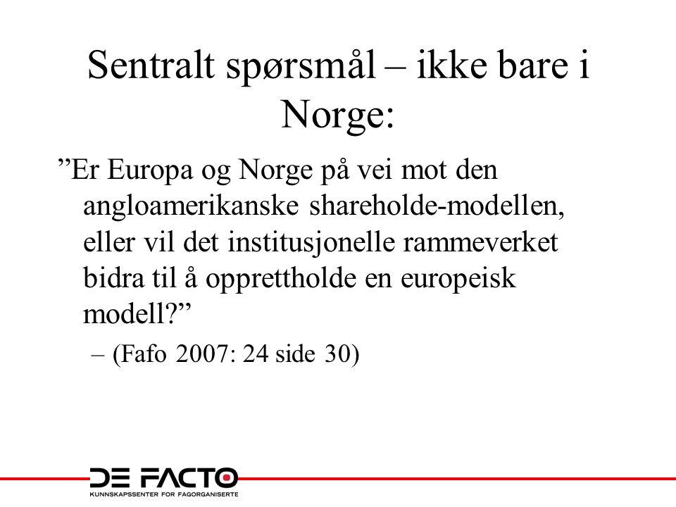 """Sentralt spørsmål – ikke bare i Norge: """"Er Europa og Norge på vei mot den angloamerikanske shareholde-modellen, eller vil det institusjonelle rammever"""