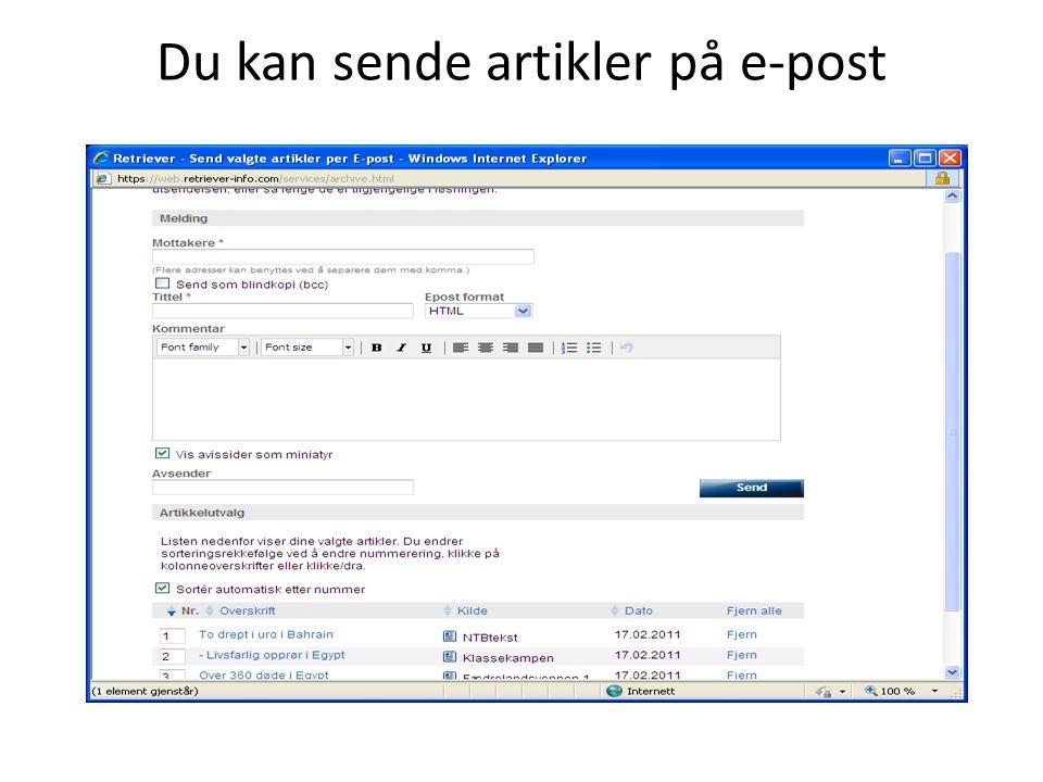 Du kan sende artikler på e-post