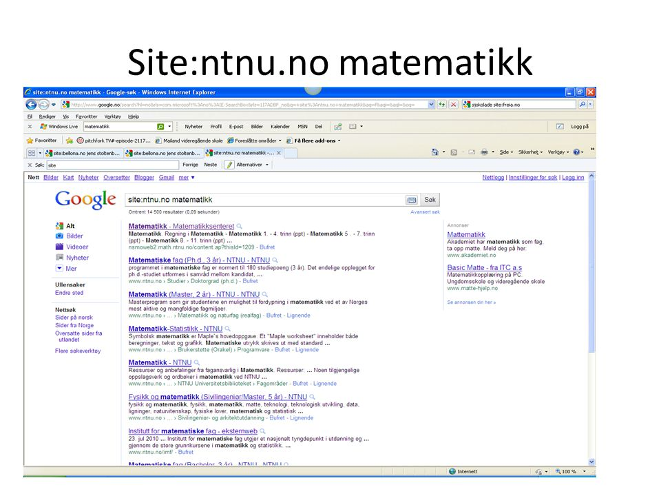 Site:ntnu.no matematikk
