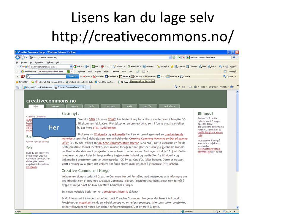 Lisens kan du lage selv http://creativecommons.no/ Her