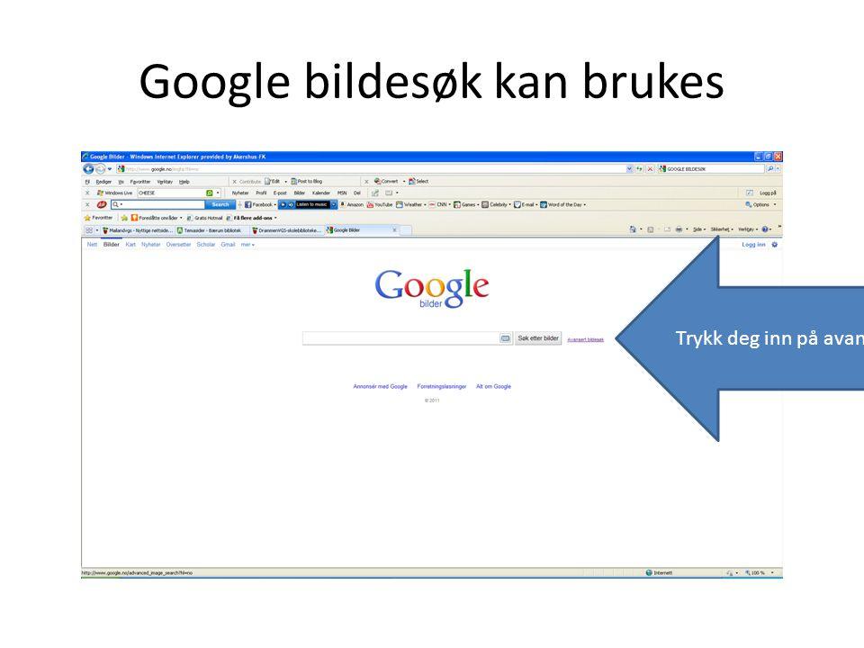 Google bildesøk kan brukes Trykk deg inn på avansert søk