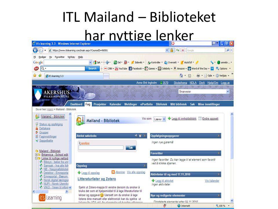 ITL Mailand – Biblioteket har nyttige lenker