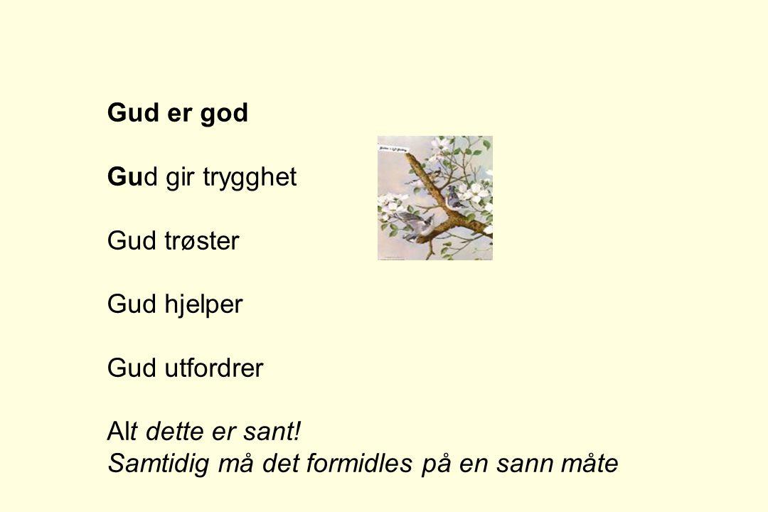 Gud er god Gud gir trygghet Gud trøster Gud hjelper Gud utfordrer Alt dette er sant! Samtidig må det formidles på en sann måte