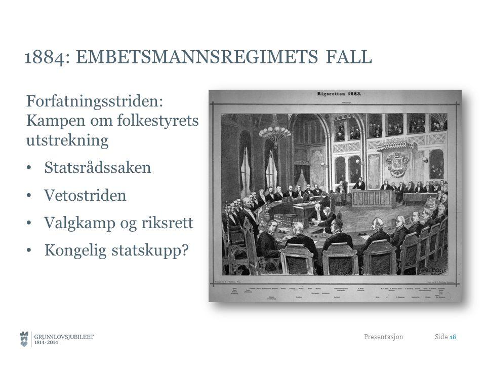 1884: EMBETSMANNSREGIMETS FALL Forfatningsstriden: Kampen om folkestyrets utstrekning Statsrådssaken Vetostriden Valgkamp og riksrett Kongelig statskupp.