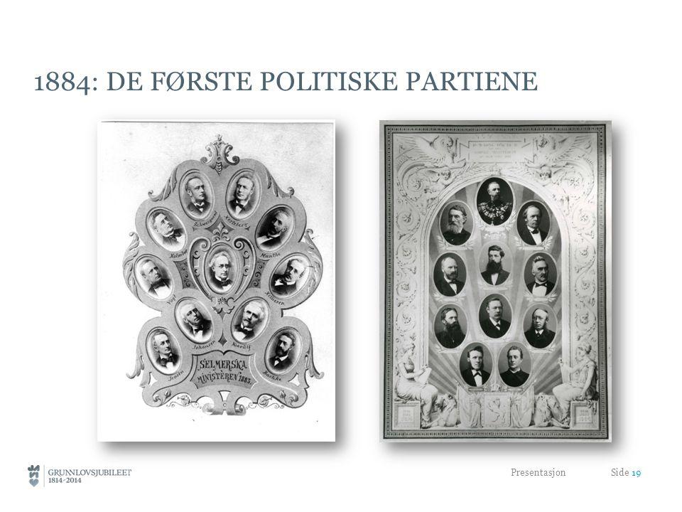 1884: DE FØRSTE POLITISKE PARTIENE Presentasjon Side 19