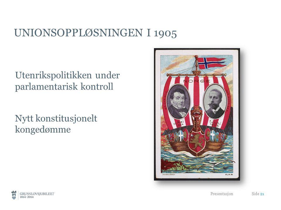 UNIONSOPPLØSNINGEN I 1905 Utenrikspolitikken under parlamentarisk kontroll Nytt konstitusjonelt kongedømme Presentasjon Side 21