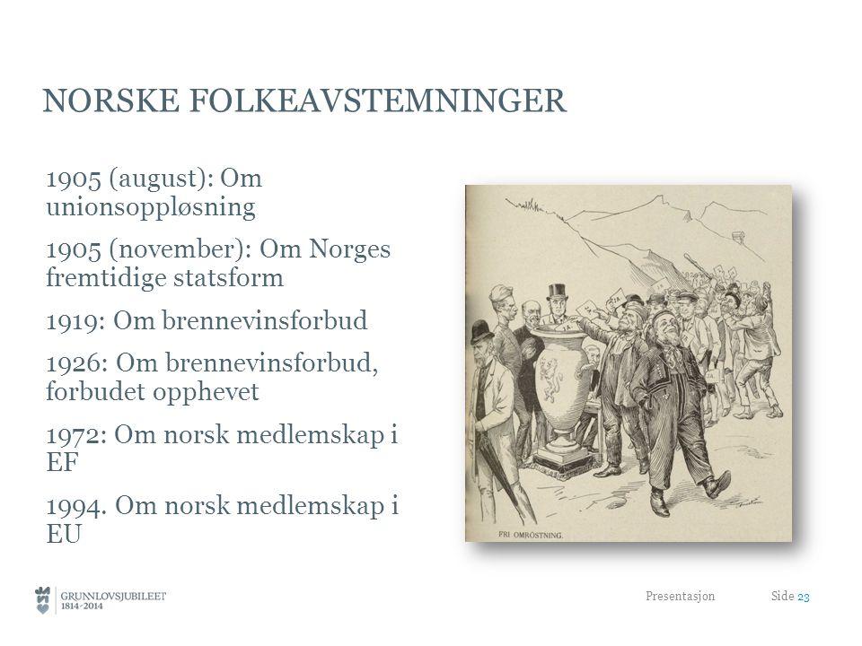 NORSKE FOLKEAVSTEMNINGER 1905 (august): Om unionsoppløsning 1905 (november): Om Norges fremtidige statsform 1919: Om brennevinsforbud 1926: Om brennevinsforbud, forbudet opphevet 1972: Om norsk medlemskap i EF 1994.