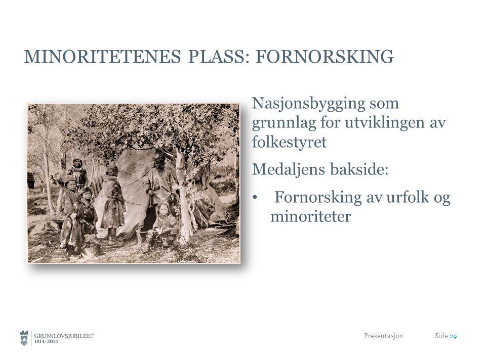MINORITETENES PLASS: FORNORSKING Nasjonsbygging som grunnlag for utviklingen av folkestyret Medaljens bakside: Fornorsking av urfolk og minoriteter Presentasjon Side 29