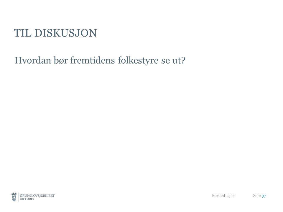 TIL DISKUSJON Hvordan bør fremtidens folkestyre se ut? Presentasjon Side 37