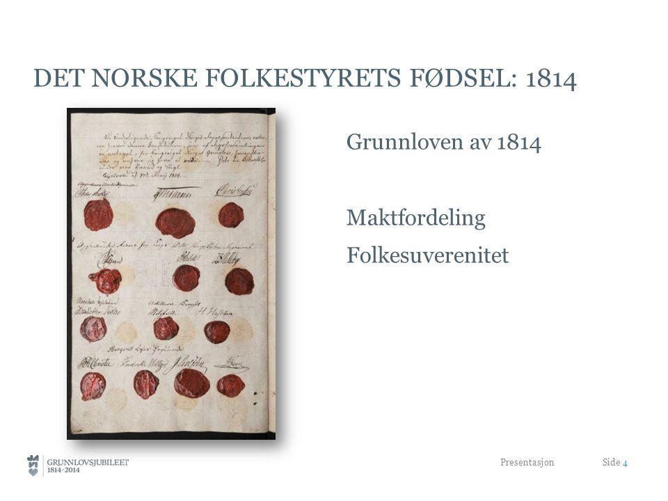 DET NORSKE FOLKESTYRETS FØDSEL: 1814 Grunnloven av 1814 Maktfordeling Folkesuverenitet Presentasjon Side 4